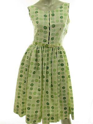 Vintage 1950s Green Print Belted Full Skirt Rockabilly Swing Day Dress Size 9