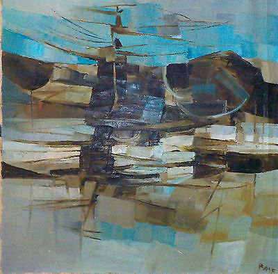 Great MCM Oil/Canvas Abstract Landscape Painting by Donald Pass (UK1930-2010)