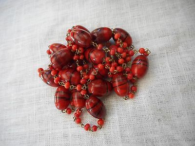 """Vintage deep red Venetian Murano Glass Necklace, cranberry seed glass spacer,49"""""""