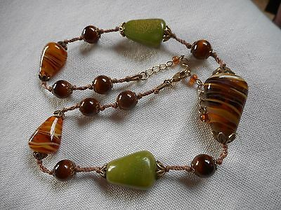 """Vintage knotted Murano and tiger eye Glass Necklace, 18"""""""