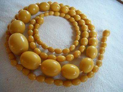 Vintage Long Celluloid Carved Baltic Amber Butterscotch Oval Beads Necklace