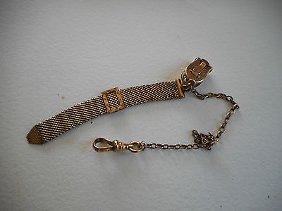 Edwardian Antique Mesh Gold Filled Pocket Watch Fob Chain