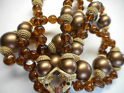 Vintage Boucher Brushed Gold Amber Glass Two Strand Necklace 50s,signed