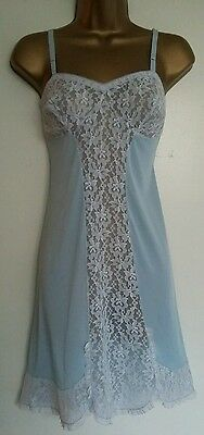 VTG 50s 60S BLUE WHITE ULTRA SHEER NYLON & LACE FULL SLIP PETTICOAT BABYDOLL B38