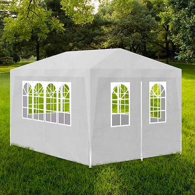 S# Gazebo 3x4m White Party Tent Marquee Folding Up Canopy Outdoor Wedding Event