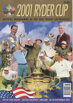 RARE-2001-POSTPONED-34th RYDER CUP GOLF OFFICIAL PROGRAMME-EUROPE V USA @BELFRY
