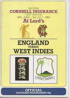 1984 England V West Indies-Second 2Nd Test-@lords-Cricket Programme Tour