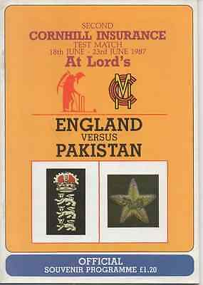 1987 England V Pakistan-Second Test-@lords-Cricket Programme Tour