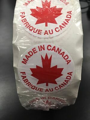 Roll of Made in Canada Circle Stickers Fabrique Au Canada