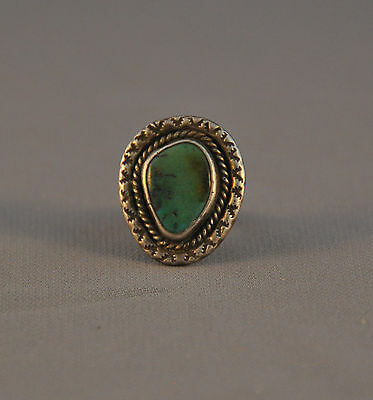Vintage Navajo Turquoise Ring - Wide Hand Stamped Silver Border - Size 7
