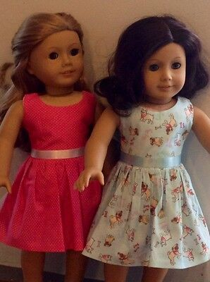 "Fits American Girl Lot 18"" Doll Dolls Clothes Maplelea Dress Lot *2 Dresses*"