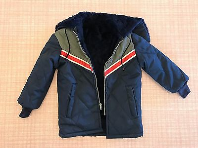 Vtg 1980s Youth Kids Hooded Jacket Small/Medium Blue/Red/White/Gray