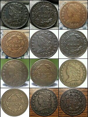 Nearly Complete Classic Half Cent Set. Mostly High Grade. Missing 1811.