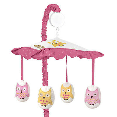 Sweet Jojo Designs Musical Mobile for Modern Owl Pink Nature Baby Crib Bedding
