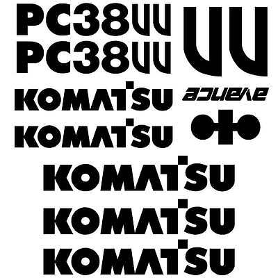 Komatsu PC38UU  Decals Stickers, repro Kit for Mini Excavator