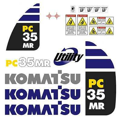 Komatsu PC35MR, PC35MR-2 PC35MR-3 Decals Stickers Repro Kit Mini Excavator