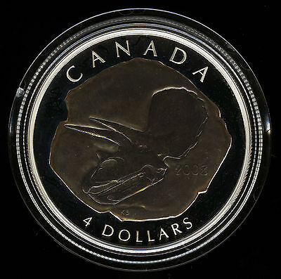 Canada 2008 Triceratops Silver Proof Coin Dinosaur Fossil Series $4 COA Box