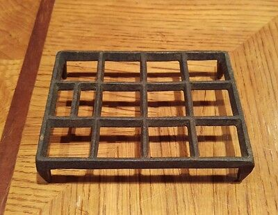 Antique Cast Iron Unique Rectangular Trivet with Squares Free Shipping