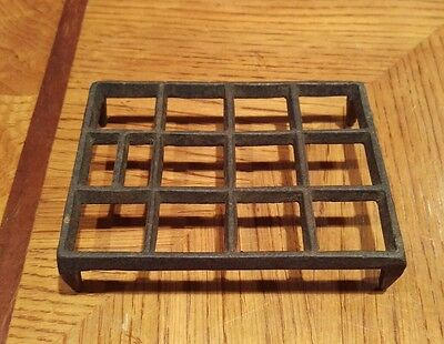 Antique Shaker Cast Iron Unique Rectangular Trivet with Squares Free Shipping