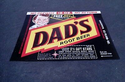 Vintage DAD'S ROOT BEER Soda Advertising Label