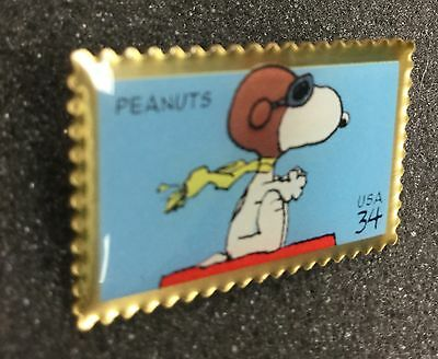 Vintage Peanuts Snoopy Pin Flying Ace Stamp