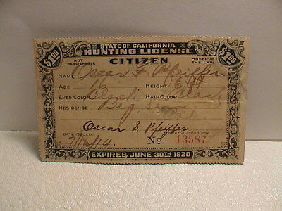 1919 California Citizen Resident Hunting License W/help Prevent Forest Fires
