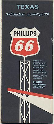 VINTAGE 1965 TEXAS PHILLIPS 66 GAS STATION OIL Road Map Petroliana Petrol RM05