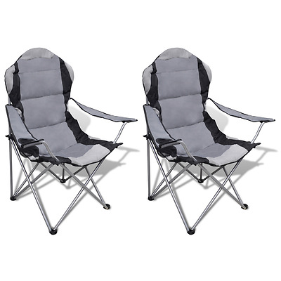 S# 2X Folding Outdoor Travel Camping Fishing Chair PVC Coating Seat Arm Picnic G
