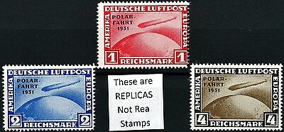 Complete Set of 3 REPRODUCTION (FAKE) Germany 1931 Polar Fahrt Zepplin Stamps