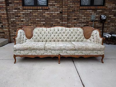 mid century FRENCH PROVINCIAL carved cane TUFTED sofa Glabman Paramount rococo
