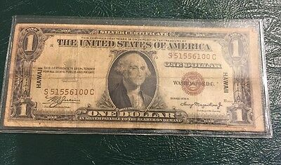 1935 A 1 Dollar Hawaii Silver Certificate Paper Note