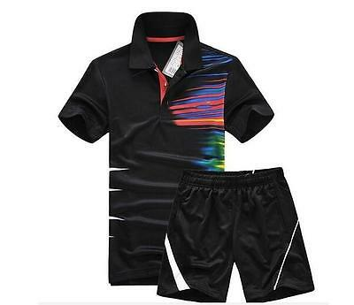 2017 Outdoor sports men's Tops tennis clothing Badminton T-shirt +shorts