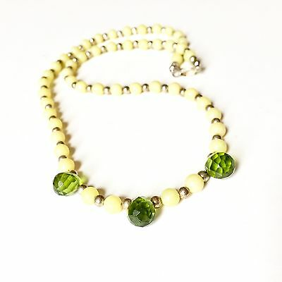 Handmade Beaded Necklace Green Crystal & Yellow Vintage Beads Sterling Silver
