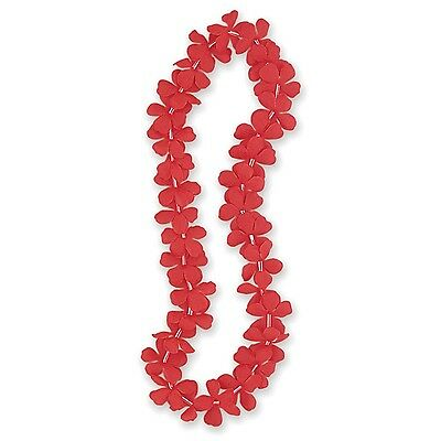 "Fabric Luau Flower Lei 40"" Red"