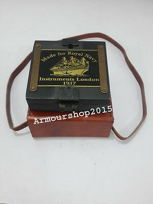 Antique Vintage Style Brass Brunton Compass With Leather Box collectible decor