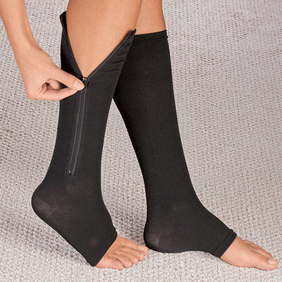 Zippered Compression Socks Support Stockings Leg Calf Men's Women's Sox (S-XXL)
