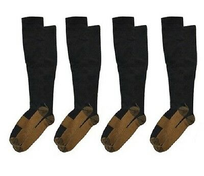 (4 Pairs) Copper Compression Socks 20-30mmHg Graduated Support Mens Womens S-XXL