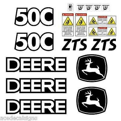JOHN DEERE 50C ZTS Mini Excavator DECALS Stickers SET