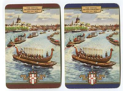 VINTAGE WORSHIPFUL PLAYING CARDS 1953 PAIR The Royal River Pageant