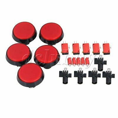 5pcs Red LED Lamp 60mm Dia Round Push Button Limit Microswitch For Arcade Game