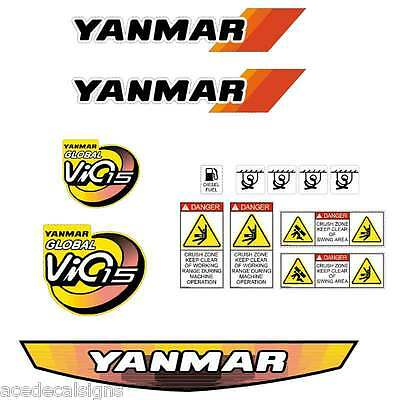 Yanmar VIO15 Decals Stickers Kit Set Mini Excavator