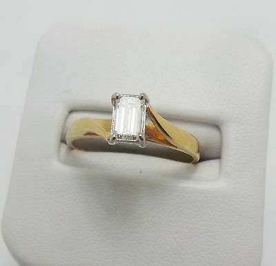 9ct YELLOW GOLD 1/2 CT DIAMOND SOLITAIRE RING- HANDMADE - VALUED @$4129