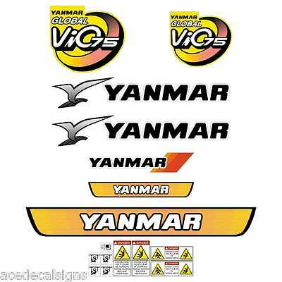 Yanmar VIO75 Decals Stickers Kit Set Mini Excavator