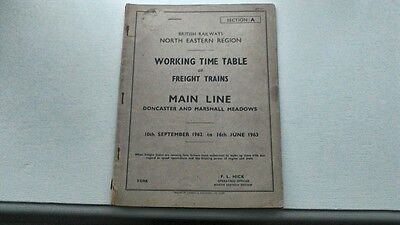 British Rail North Eastern Region Freight Train Timetable Doncaster 1962