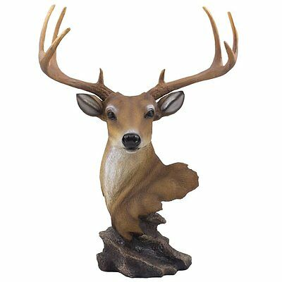Decorative Buck Bust Statue or Deer Head Sculpture with 8-point Antlers for or