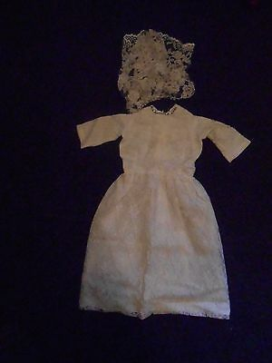 VINTAGE BABY`S CHRISTENING GOWN. APPROX. 22 ins LONG. HANDMADE. DIAMANTE TRIM