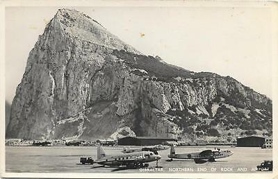Late 1940s Gibraltar Airport and Aircraft Unused RP Postcard
