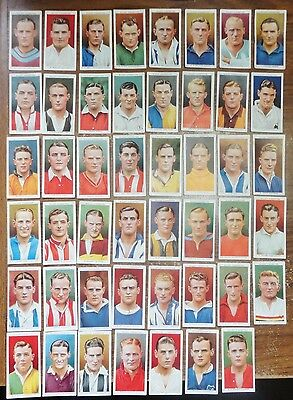 """47 of 50 Wills """"Association Footballers"""" Cigarette Cards 1935"""