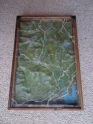 Raised 3D Relief Topographical Boxed Map Snowdon Wales Vintage Antique