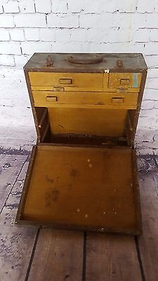 Vintage Antique Wooden Carpentry Tool Box Cabinet Woodwork Tools Chest Trunk